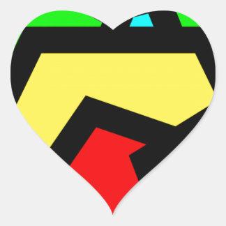 Coloured Pentagon Abstract Heart Sticker