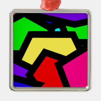 Coloured Pentagon Abstract Metal Ornament