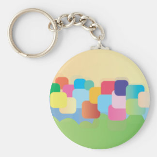 Coloured Square Abstract Basic Round Button Keychain