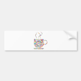 Coloured Steaming Cup Bumper Sticker