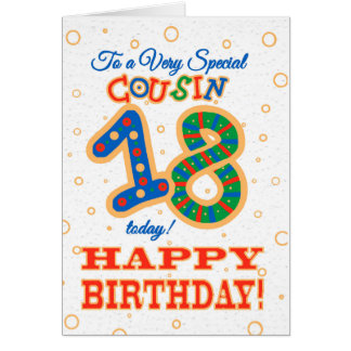 Colourful 18th Birthday for Special Cousin Card
