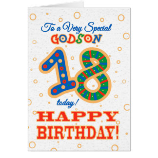 Colourful 18th Birthday for Special Godson Card