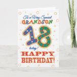 Colourful 18th Birthday For Special Grandson Cardbrdiv Classdesc