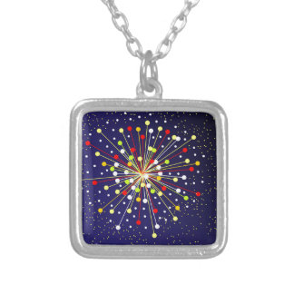 Colourful Abstract Explosion Silver Plated Necklace