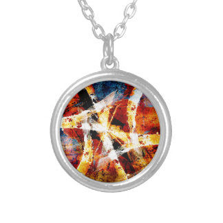 Colourful abstract graffiti silver plated necklace
