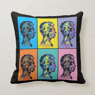 Colourful abstract human head silhouettes. throw pillow