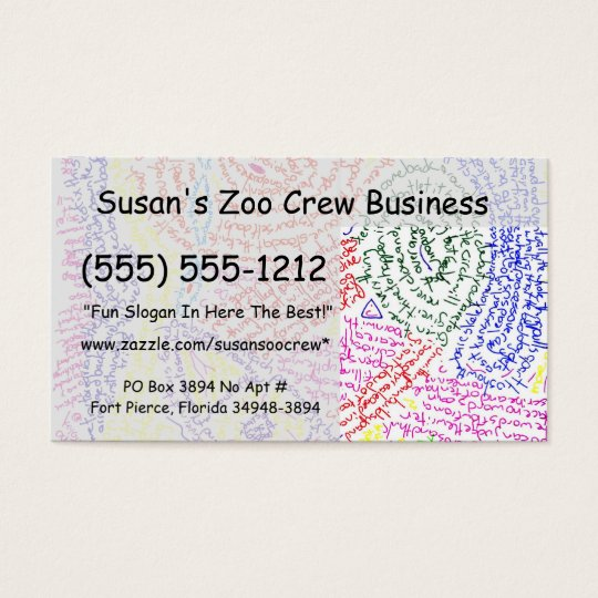 Colourful abstract word drawing image color business card