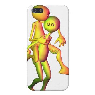 Colourful Alien Couple piggyback Case For iPhone 5