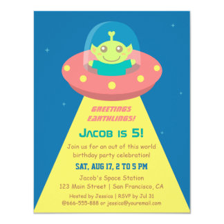 Colourful Alien Outer Space Birthday Party Invites