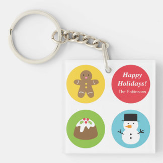 Colourful and Cute, Merry and Bright Christmas Keychain