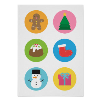 Colourful and Cute, Merry Christmas Favourites Poster