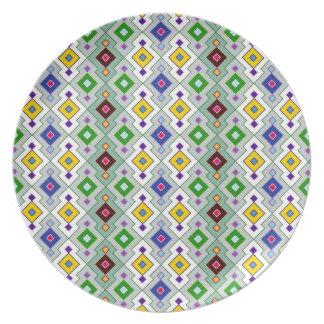 Colourful Argyle Rhombic Diamond Pattern Melamine Plate