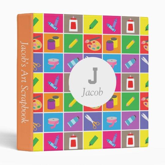 Colourful Arts And Craft Kids Scrapbook 3 Ring Binder Zazzle