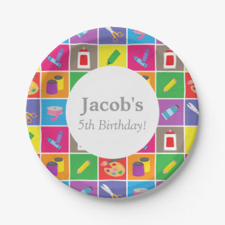 Colourful Arts and Craft Theme Kids Birthday Party 7 Inch Paper Plate
