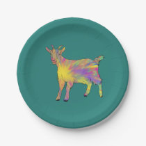 Colourful artsy goat on things just add your name paper plate