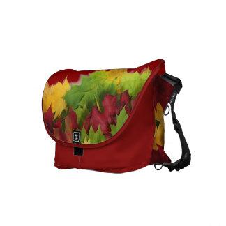 Colourful autumn leaves messenger bag