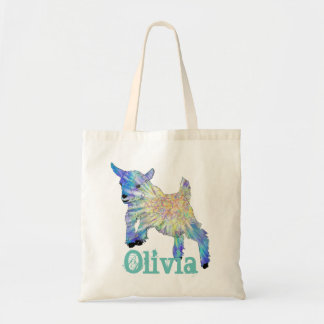 Colourful Baby Goat Jumping Design with Your Name Tote Bag