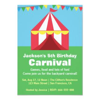Colourful Backyard Carnival Birthday Party Card