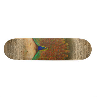 Colourful Beautiful Peacock Vintage Dictionary Art Skateboard