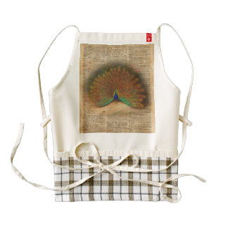 Colourful Beautiful Peacock Vintage Dictionary Art Zazzle HEART Apron