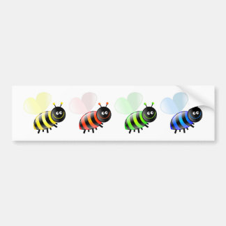 Colourful Bees Bumper Stickers