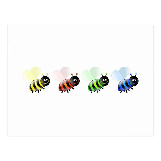 Colourful Bees Postcard