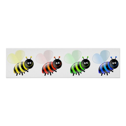 Colourful Bees Poster