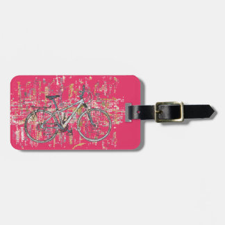 Colourful bicycle drawing luggage tag