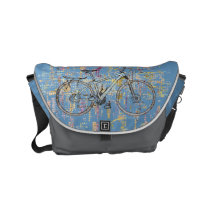 Colourful bicycle drawing small messenger bag