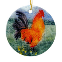 Colourful Bird Painting Rooster Chicken Ceramic Ornament