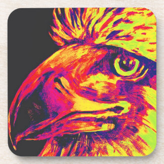 Colourful Birds Head and Beak, Yellows and Reds Drink Coaster
