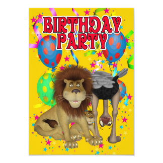 Colourful Birthday Party Invitation - Ostrich and