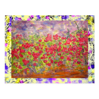 colourful blooming roses drip postcard