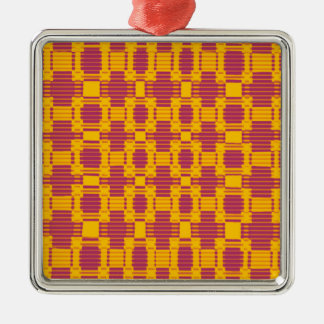 Colourful blurred chequered pattern metal ornament