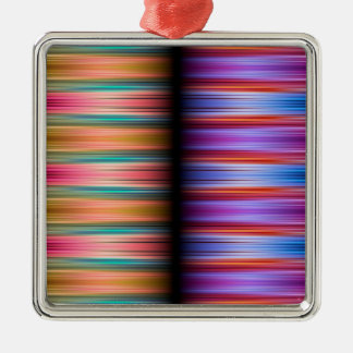 Colourful blurred stripes pattern metal ornament