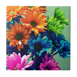 Colourful Bold Daisy Flowers Small Square Tile