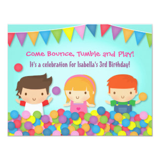 Colourful Bounce Play Gym Kids Birthday Party Card