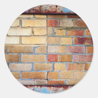 Colourful brick pattern classic round sticker