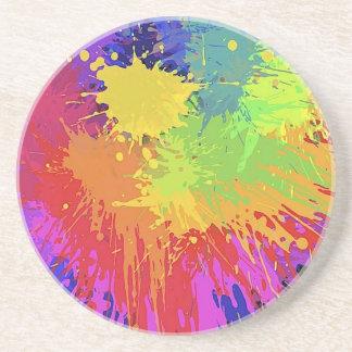 Colourful Bright Ink Splat Design Vector Drink Coaster