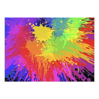 Colourful Bright Ink Splat Design Vector Announcement
