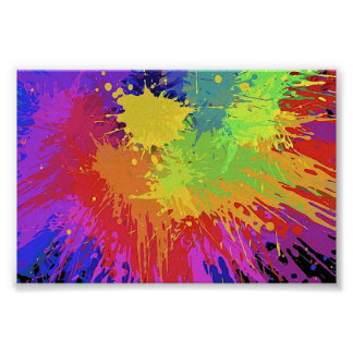 Colourful Bright Ink Splat Design Vector Poster
