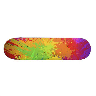 Colourful Bright Ink Splat Design Vector Skateboard