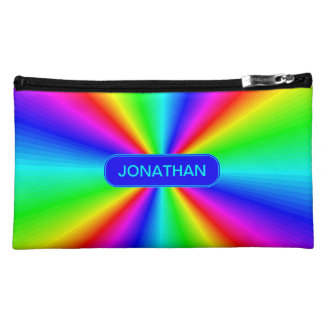 Colourful Bright Rainbow Personalize .. Makeup Bag