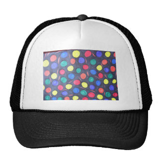 COLOURFUL BUBBLE GUM DOODLE RED GREEN BLUE BLACK O TRUCKER HAT