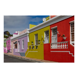 Colourful Buildings en Bo-Kaap, Cape Town Poster