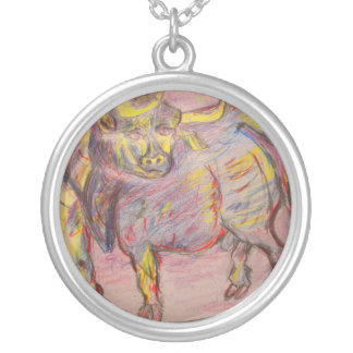 colourful bull round pendant necklace