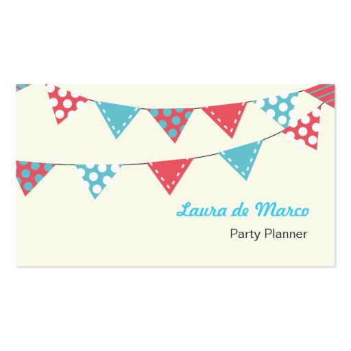 Colourful Bunting Party Planner Business Card Zazzle