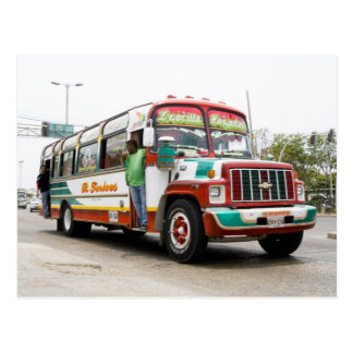 Colourful bus in Cartagena Postcards