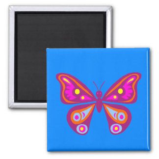 Colourful Butterfly Square Magnet