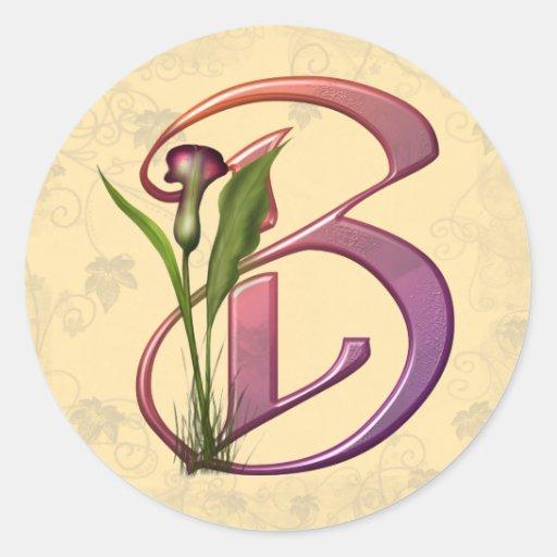 Colourful Calla Initial B Round Sticker